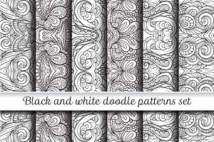 Black and white doodle patterns set