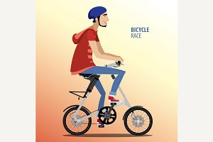 Man on fashionable folding bike