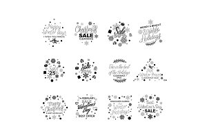 Winter Holidays Discounts Vector Concepts Set