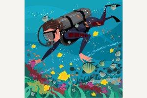 Man studying marine life