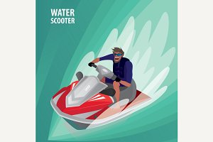 Man on a water scooter
