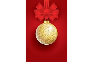Golden Glitter Christmas Ball