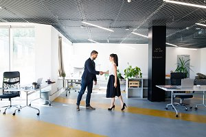 Business people in the office. Man and woman shaking hands.