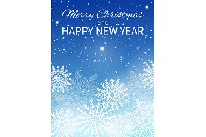 Merry Christmas Happy New Year Vector Illustration