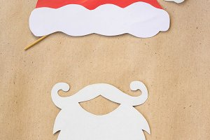 Photo booth colorful props for christmas party - mustache, santa claus, hat