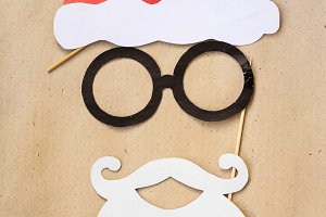 Photo booth colorful props for christmas party - mustache, santa claus, glasses, hat