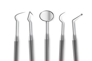 Set of stainless dental tools