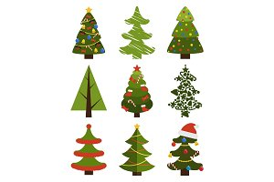 Big Set Christmas Tree Symbols With Without Decor