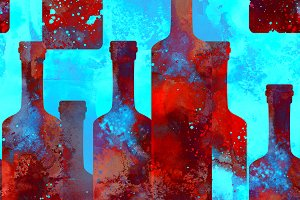 wine bottles seamless pattern | JPEG