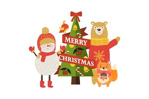 Merry Christmas Postcard with Cartoon Characters