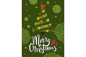 Merry Christmas Greeting Card Abstract Xmas Tree