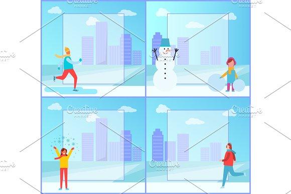 Banners Set On Winter Theme On Vector Illustration