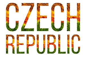 word czech republic country is written with leaves on a white insulated background, a banner for printing, a creative developing country colored leaves czech republic