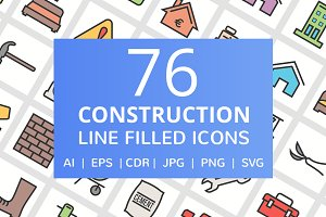 76 Construction Filled Line Icons