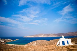 Traditional white church with sea view in Mykonos island,Greece