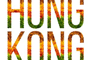 word hong kong country is written with leaves on a white insulated background, a banner for printing, a creative developing country colored leaves hong kong