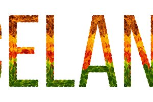 word iceland country is written with leaves on a white insulated background, a banner for printing, a creative developing country colored leaves iceland