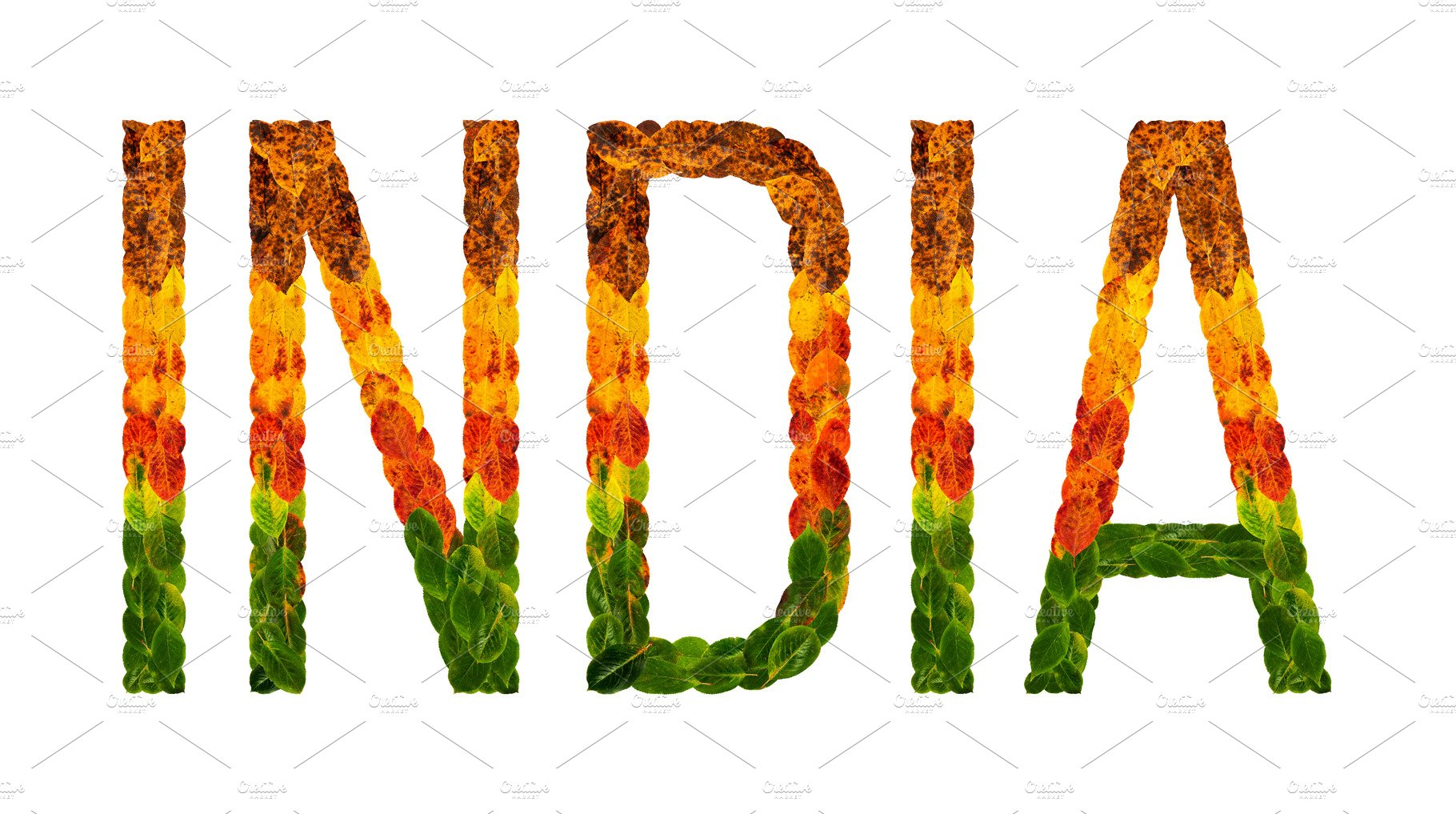 Word India Country Is Written With Leaves On A White Insulated Background Banner For