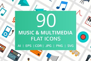 90 Music & Multimedia Flat Icons