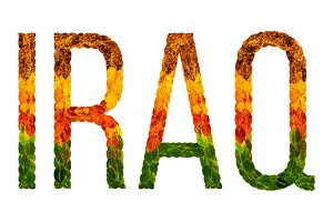word iraq country is written with leaves on a white insulated background, a banner for printing, a creative developing country colored leaves iraq