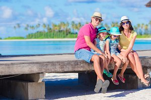 Young family on beach vacation