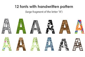 Font set with handwritten pattern