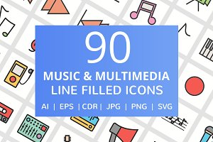 90 Music Multimedia Filled Line Icon