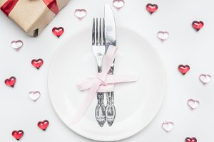 Valentine's day knife and fork