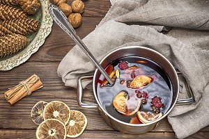 mulled wine in a pot