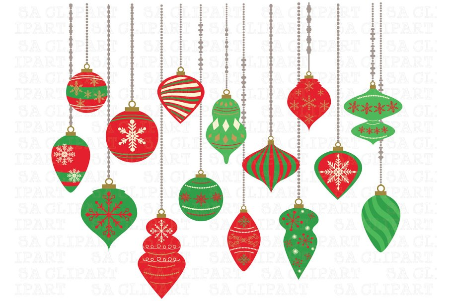 Christmas Ornaments Clipart Crs024c