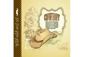 Cowboy Hand Drawn Wild West card