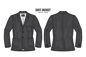 Men Formal Suit Jacket Vector