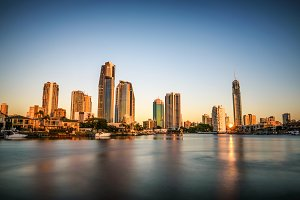 Sunset skyline of Gold Coast downtown in Queensland, Australia