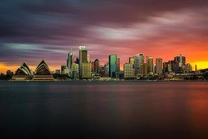 Sunset skyline of Sydney downtown