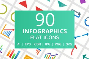 90 Infographics Flat Icons