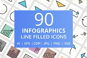 90 Infographics Filled Line Icons