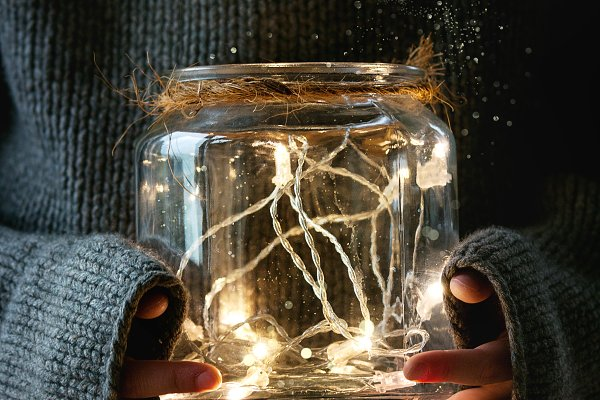 Holiday Stock Photos: Natasha Breen - Christmas lights in jar