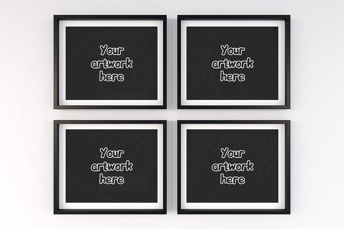 2523a4d8d234 4 horizontal black frame mockup 10x8 ~ Print Mockups ~ Creative Market