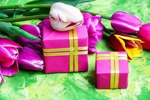 Spring flowers and gift box