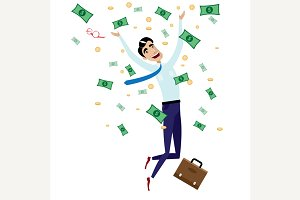 Happy businessman jumping with money