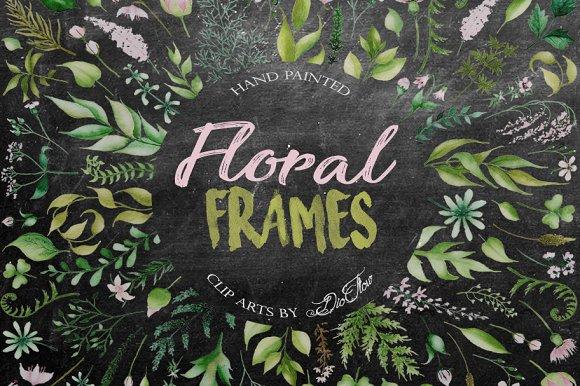 Floral Frames Watercolor Clip Art
