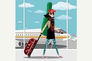 Rock musician at the airport