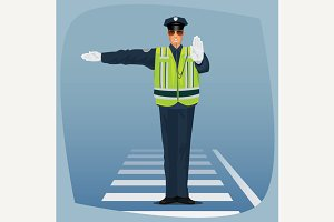Traffic police standing at crossroad