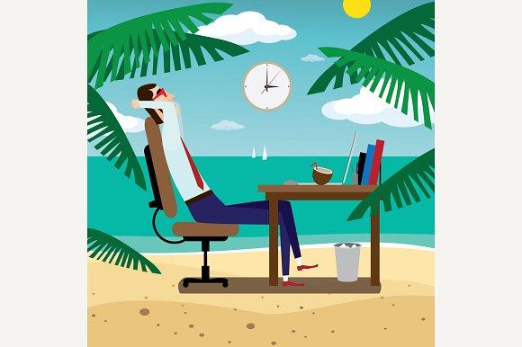 Businessman Relaxing On Beach