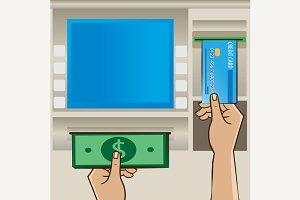 Cash and credit card near ATM