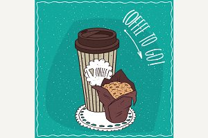 Paper cup of coffee with muffin