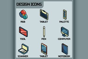 Design color outline isometric icons