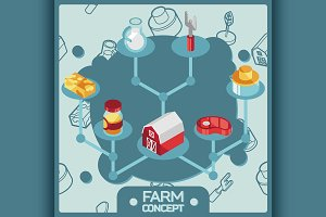 Farm color isometric concept icons