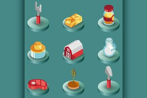 Farm color isometric icons