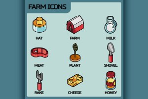 Farm color outline isometric icons